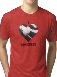 Magpie Love - feathers Tri-blend T-Shirt