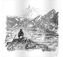 Bear & Misty Mountains Poster