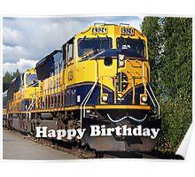 Happy Birthday: Alaska Railroad Engine Poster