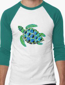Psychedelic sea turtle in acrylic Men's Baseball ¾ T-Shirt