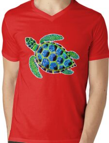Psychedelic sea turtle in acrylic Mens V-Neck T-Shirt