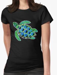 Psychedelic sea turtle in acrylic Womens Fitted T-Shirt