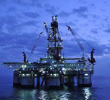 Oil Rig at Twilight by Bradford Martin