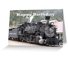 Happy Birthday: Steam train engine locomotive, Colorado 1 Greeting Card
