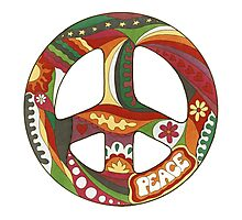 Vintage Psychedelic Peace Symbol Photographic Print