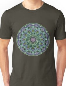 Hand Drawn Pink Purple Mandala  on Dark Unisex T-Shirt
