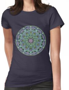 Hand Drawn Pink Purple Mandala  on Dark Womens Fitted T-Shirt