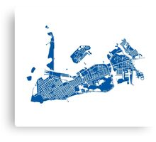 Key West Map - Deep Blue Canvas Print