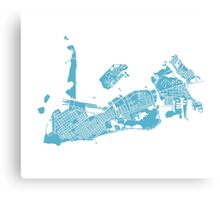 Key West Map - Baby Blue Canvas Print