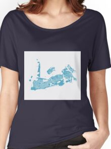 Key West Map - Baby Blue Women's Relaxed Fit T-Shirt