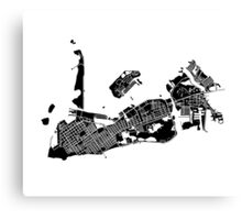 Key West Map - Black Canvas Print