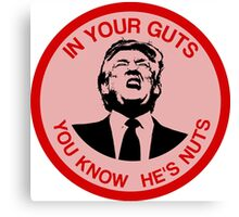 In Your Guts, You Know He's Nuts (Trump Mocking) Canvas Print