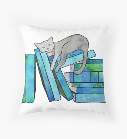 Literary Naps Blue Throw Pillow