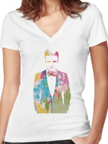 Justin Timberlake Water Colour Women's Fitted V-Neck T-Shirt