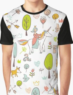 Fairytale pattern with princess, unicorn in the forest Graphic T-Shirt