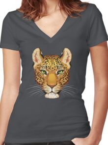 Leopard Face Women's Fitted V-Neck T-Shirt