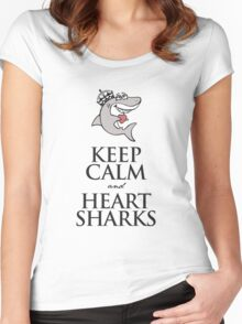 Keep calm and heart sharks Women's Fitted Scoop T-Shirt