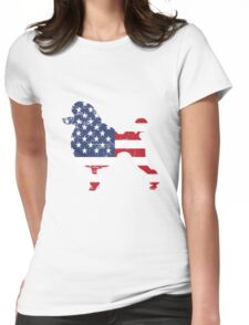 Patriotic Poodle American Flag Womens Fitted T-Shirt