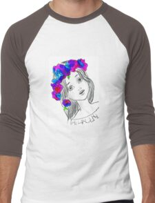 Pretty Girl With Pretty Flowers Men's Baseball ¾ T-Shirt
