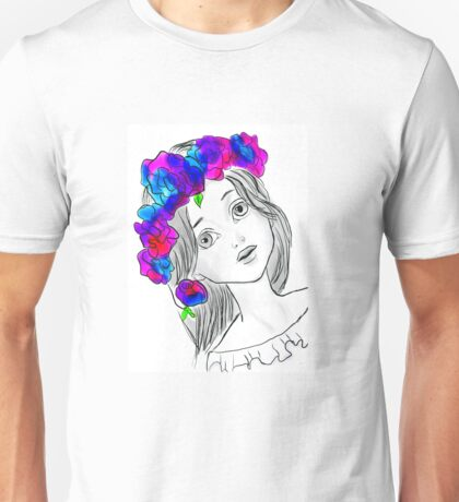 Pretty Girl With Pretty Flowers Unisex T-Shirt