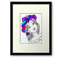 Pretty Girl With Pretty Flowers Framed Print