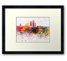 Austin skyline in watercolor background Framed Print