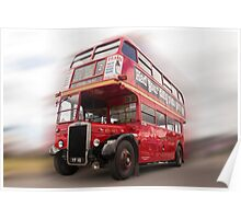 Old vintage Red London Bus Poster