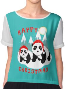 Cute Happy Christmas Panda Bears Snow Scene Chiffon Top