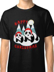 Cute Happy Christmas Panda Bears Snow Scene Classic T-Shirt