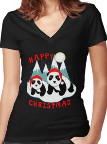 Cute Happy Christmas Panda Bears Snow Scene Women's Fitted V-Neck T-Shirt