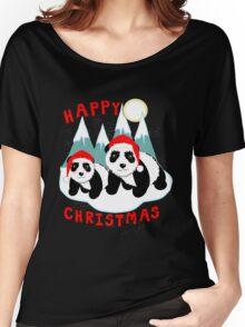 Cute Happy Christmas Panda Bears Snow Scene Women's Relaxed Fit T-Shirt