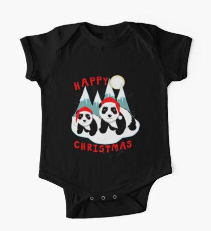 Cute Happy Christmas Panda Bears Snow Scene One Piece - Short Sleeve