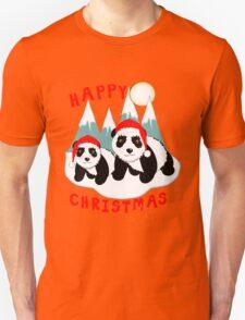 Cute Happy Christmas Panda Bears Snow Scene Unisex T-Shirt