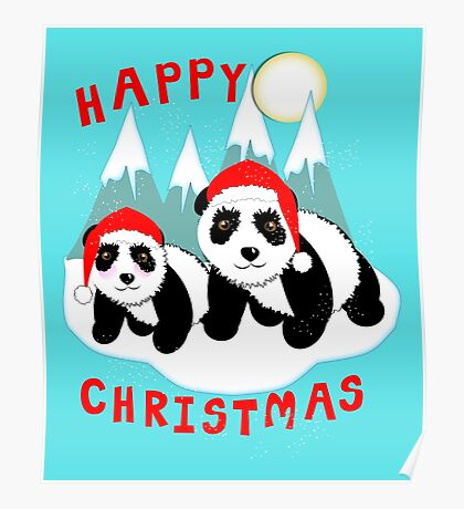 Cute Happy Christmas Panda Bears Snow Scene Poster