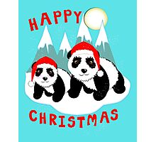 Cute Happy Christmas Panda Bears Snow Scene Photographic Print