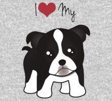 Cute Little Boston Terrier Puppy Dog Kids Tee