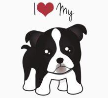 Cute Little Boston Terrier Puppy Dog One Piece - Short Sleeve
