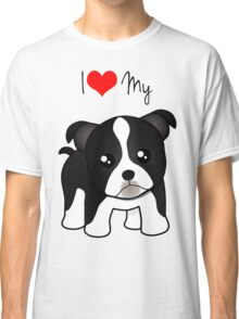 Cute Little Boston Terrier Puppy Dog Classic T-Shirt
