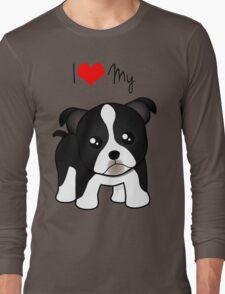 Cute Little Boston Terrier Puppy Dog Long Sleeve T-Shirt