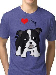 Cute Little Boston Terrier Puppy Dog Tri-blend T-Shirt