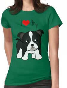 Cute Little Boston Terrier Puppy Dog Womens Fitted T-Shirt