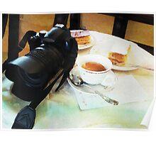 Photographers break in watercolor Poster