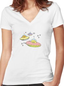 space cats Women's Fitted V-Neck T-Shirt