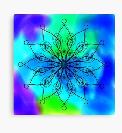 Blue and Green Mandala Canvas Print