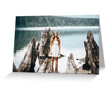 woman standing on the edge of the lake Greeting Card