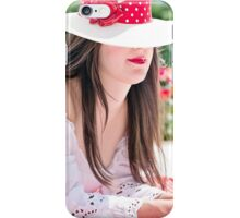 Beautiful woman wearing a hat in summer iPhone Case/Skin