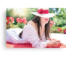 Beautiful woman wearing a hat in summer Canvas Print