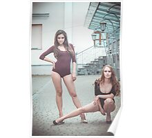 Fashion shoot of two young sexy striptease dancer Poster