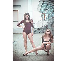 Fashion shoot of two young sexy striptease dancer Photographic Print