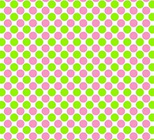 Pink and Green Polka Dots on White by BeachBumFamily